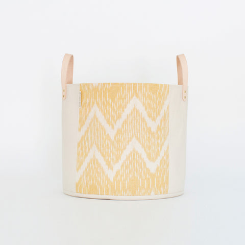 Medium Natural Canvas Bucket Basket | Marigold Ikat