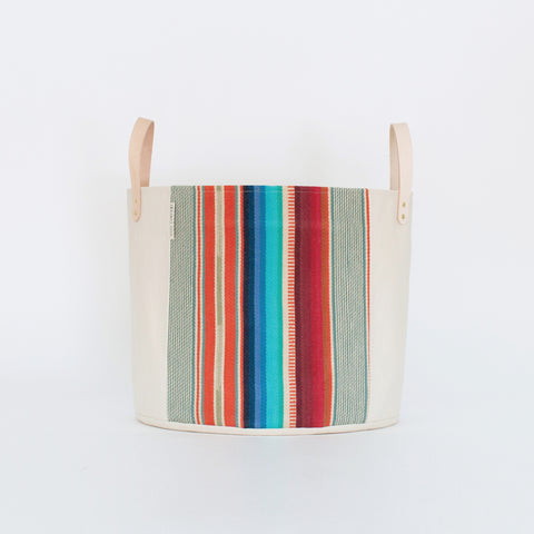 Medium Natural Canvas Bucket Basket | Red + Blue