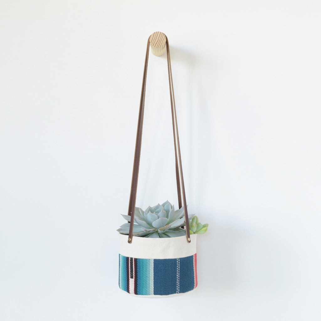 Medium Natural Canvas Hanging Planter | Blue Stripe