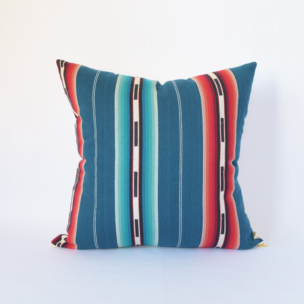 Natural Canvas Throw Pillow | Blue Stripe