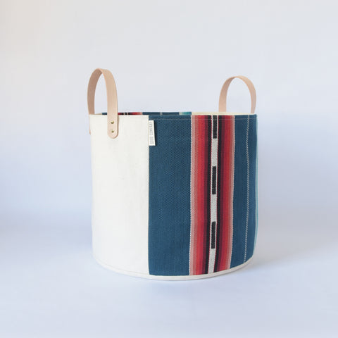 Medium Natural Canvas Bucket Basket | Blue Stripe