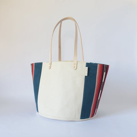 Natural Canvas Bucket Tote | Blue Stripe