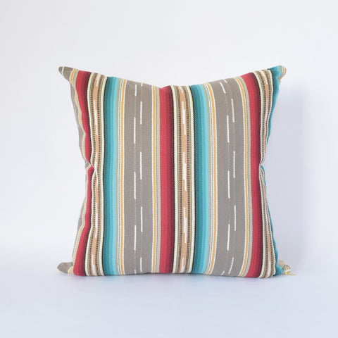 Natural Canvas Throw Pillow | Gray Stripe