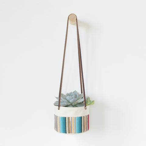 Medium Natural Canvas Hanging Planter | Gray Stripe