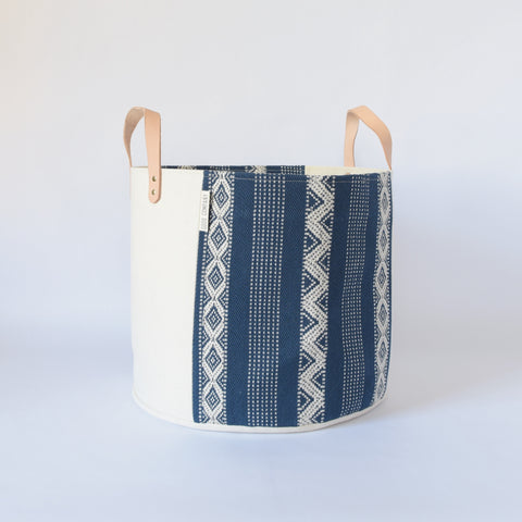 Medium Natural Canvas Bucket Basket | Indigo