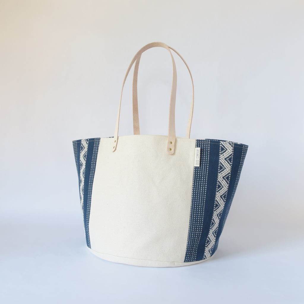 Natural Canvas Bucket Tote | Indigo