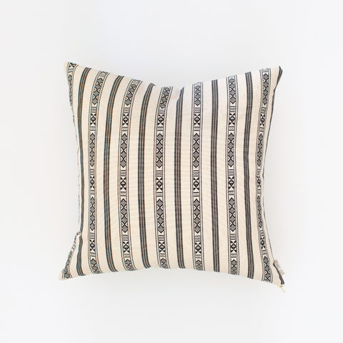 Natural Canvas Throw Pillow | Black + White