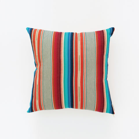 Natural Canvas Throw Pillow | Red + Blue