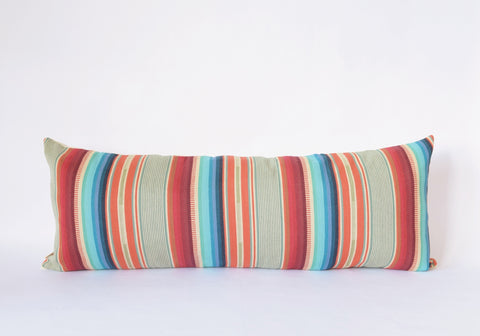 Natural Canvas Lumbar Pillow | Red + Blue