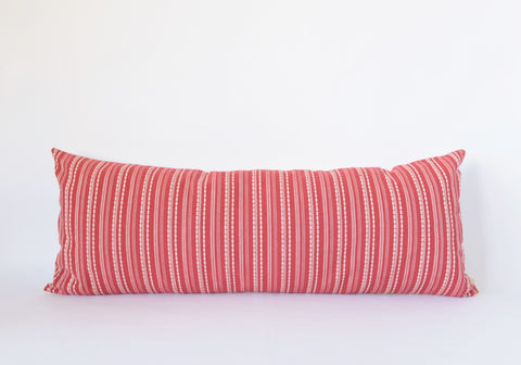 Natural Canvas Lumbar Pillow | Red