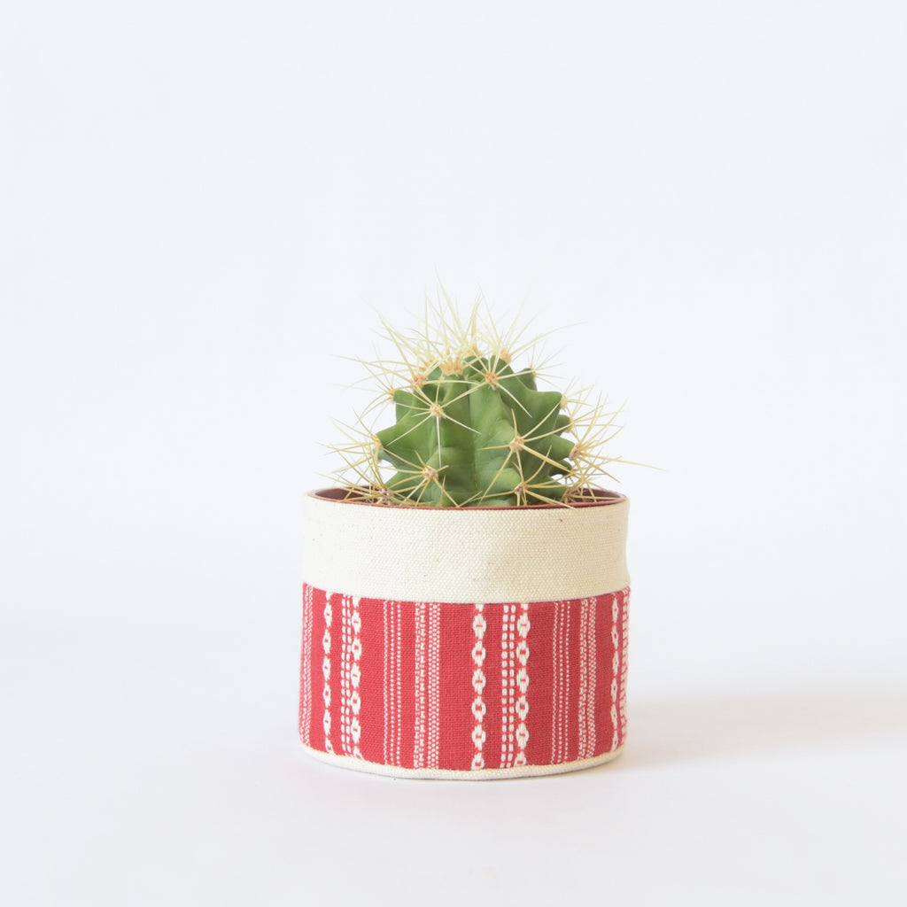 Small Natural Canvas Sitting Planter  |  Red