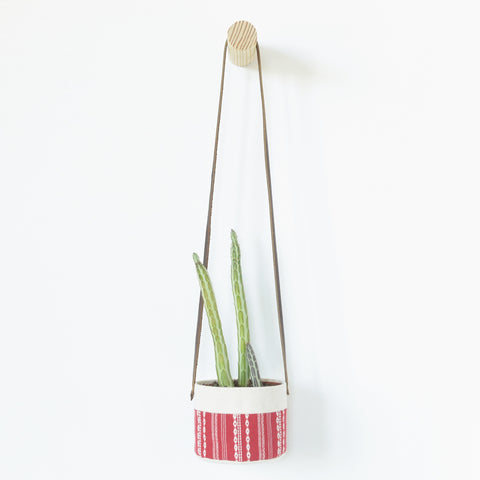 Small Natural Canvas Hanging Planter  |  Red