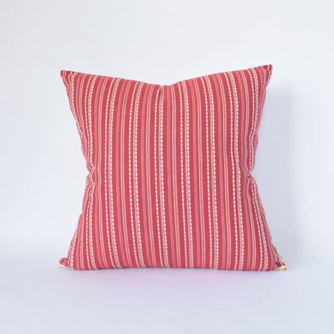 Natural Canvas Throw Pillow | Red