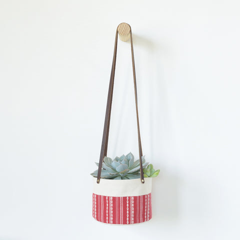 Medium Natural Canvas Hanging Planter | Red