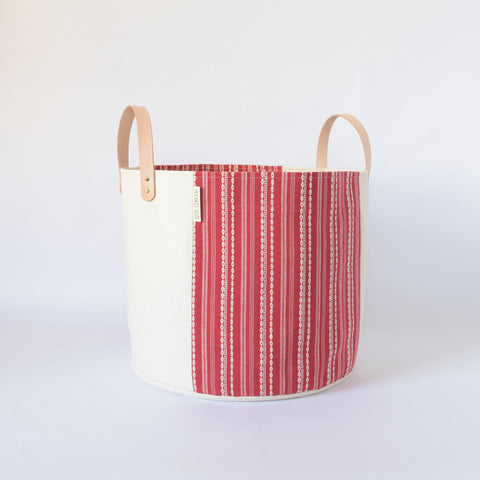 Medium Natural Canvas Bucket Basket | Red