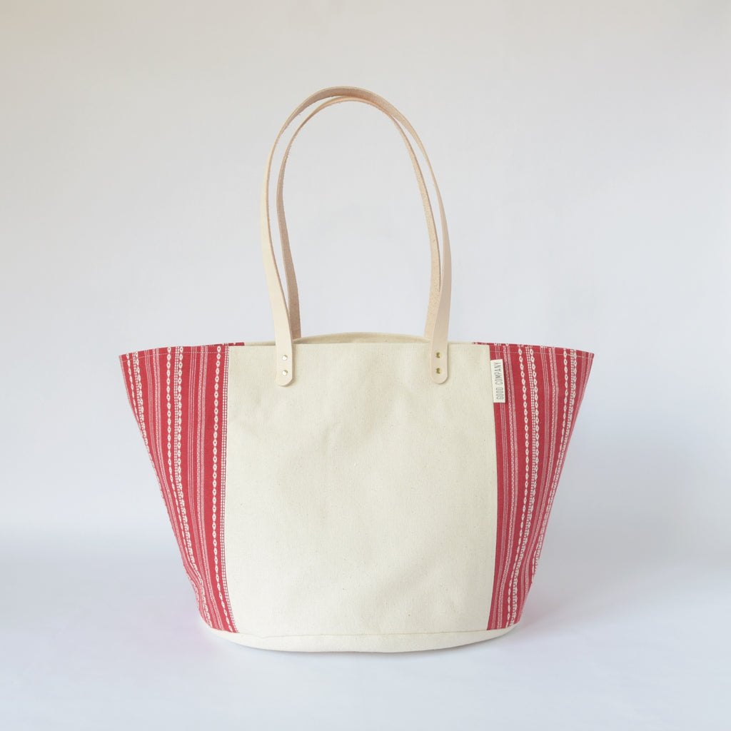Natural Canvas Bucket Tote | Red