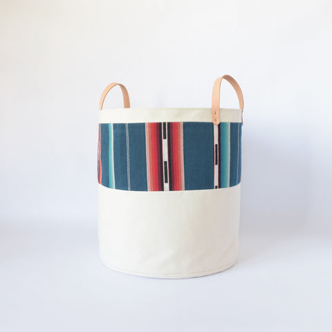 Large Natural Canvas Bucket Basket | Blue Stripe