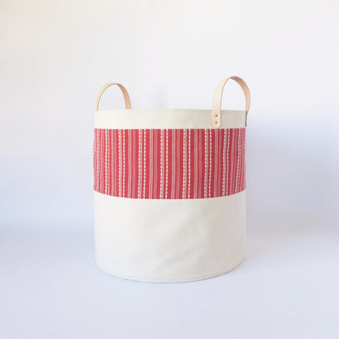Large Natural Canvas Bucket Basket | Red