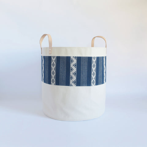 Large Natural Canvas Bucket Basket | Indigo