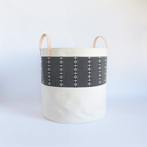 Large Natural Canvas Bucket Basket | Black