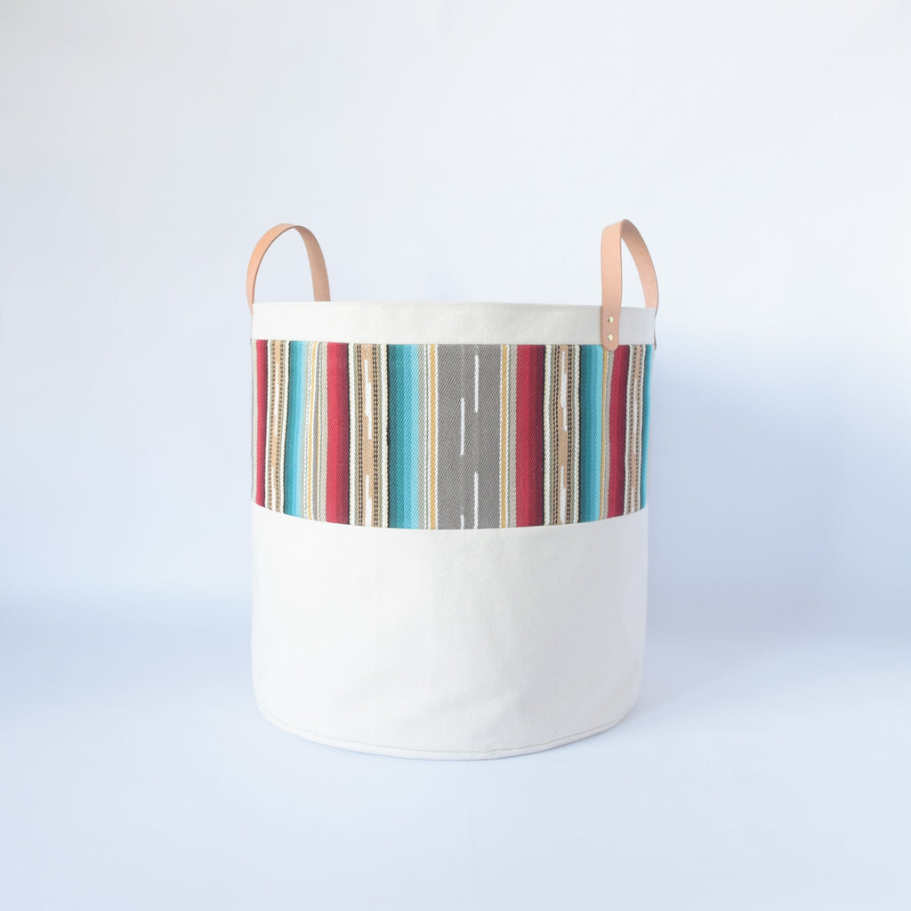 Large Natural Canvas Bucket Basket | Gray Stripe