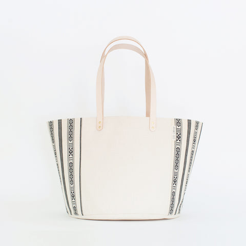 Natural Canvas Bucket Tote | Black + White