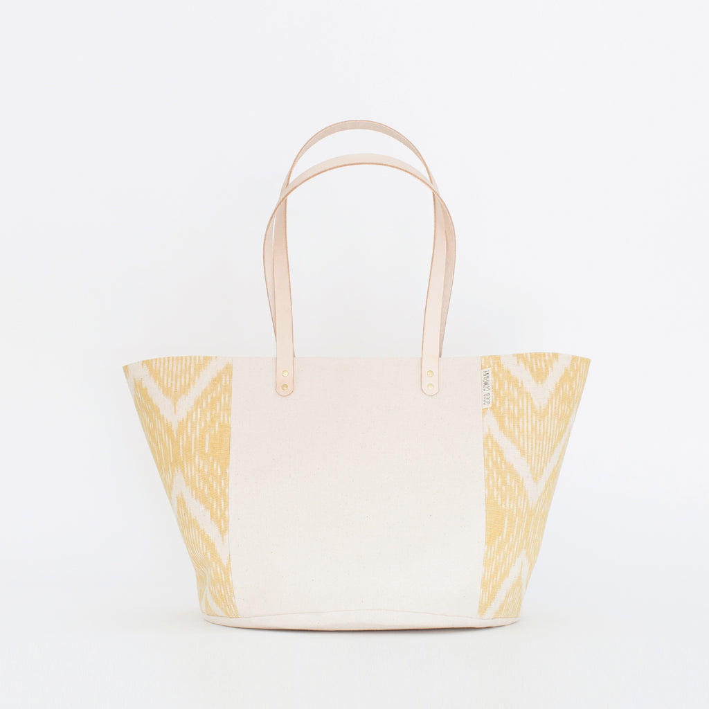 Natural Canvas Bucket Tote | Marigold Ikat