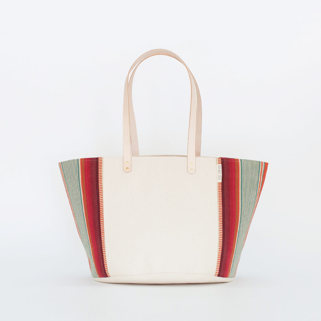 Natural Canvas Bucket Tote | Red + Blue