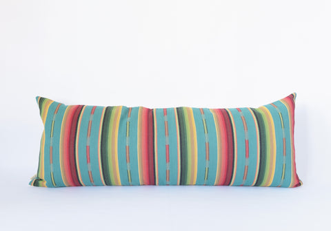 Natural Canvas Lumbar Pillow | Turquoise