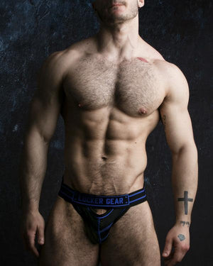 Locker Gear LK0120 front opening jockstrap mesh black/blue