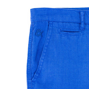 Eight X Linen slim fit short blue