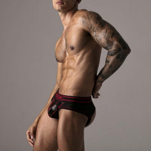 Locker Gear LK0421 zipper jockbrief mesh black/red