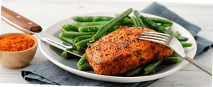 BLACKENED PORK CHOP WITH GREEN BEANS FOR TURKEY TROT PLAN