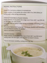 Directions for preparing P20 soups
