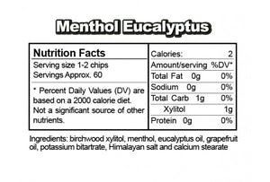 Nutrition Facts & Ingredients Menthol Eucalyptus Ice Chips Candy