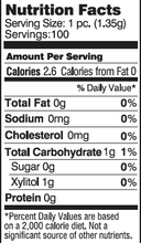 Nutrition Facts & Ingredients Zellie's Peppermint 100ct. Gum Jar