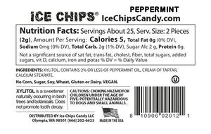 Nutrition Facts & Ingredients Ice Chips Peppermint Candy Mints sold at TheProteinStore.com