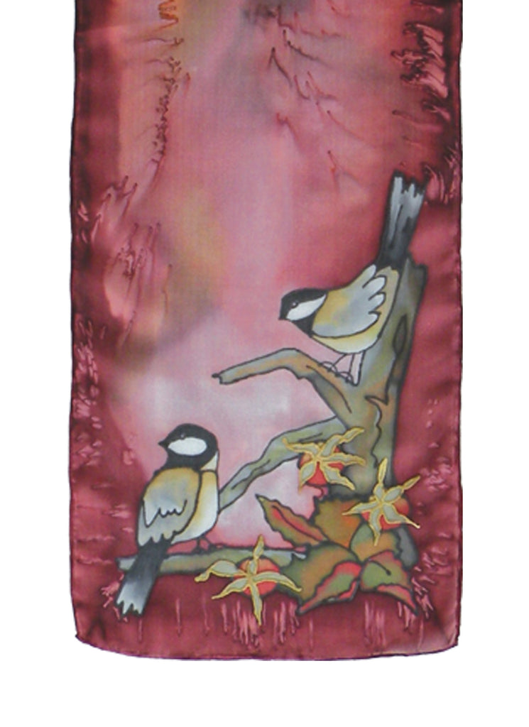 Hand-painted silk scarf red and brown chickadee design