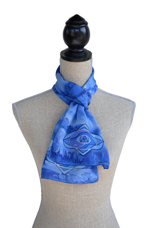 Indigo colour energy / brow chakra scarf shown on mannequin