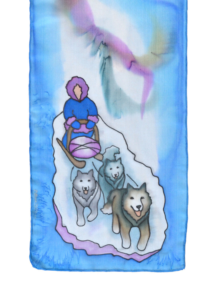 Silk scarf with dog sled design in lilac grey