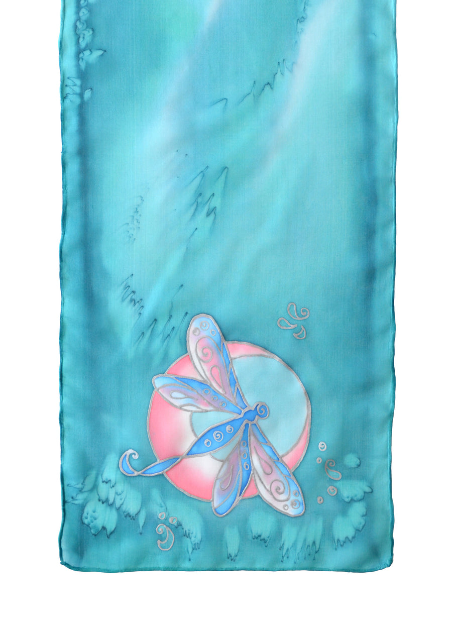 Hand-painted silk scarf purple and blue dragonfly design