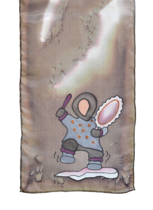 Silk scarf with Inuit drummer design in taupe
