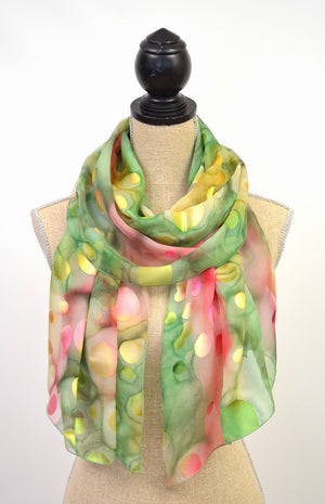 "Chiffon with Dots Scarf | 21""x66"""