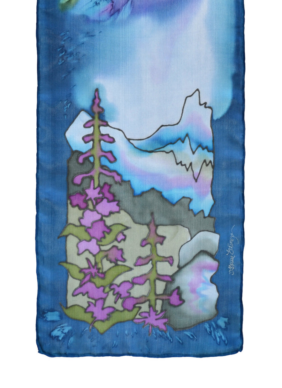 Hand-painted silk scarf fireweed floral design purple and pink