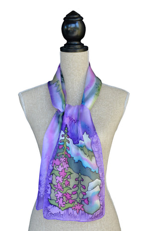 Orchid fireweed scarf shown on mannequin