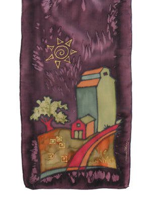 Hand-painted silk scarf purple and green grain elevator scene