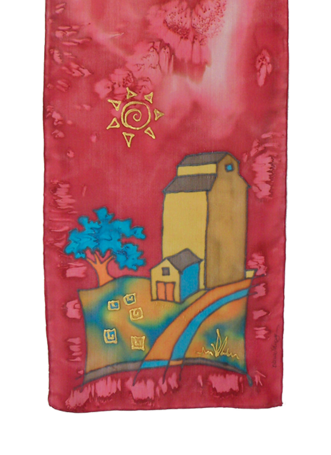 Hand-painted silk scarf red and gold grain elevator scene