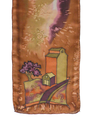 Hand-painted silk scarf brown and orange elevator scene
