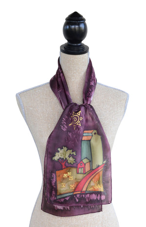 Hand-painted silk grain elevator scarf on mannequin