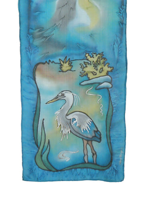 Hand-painted silk scarf blue and grey heron design